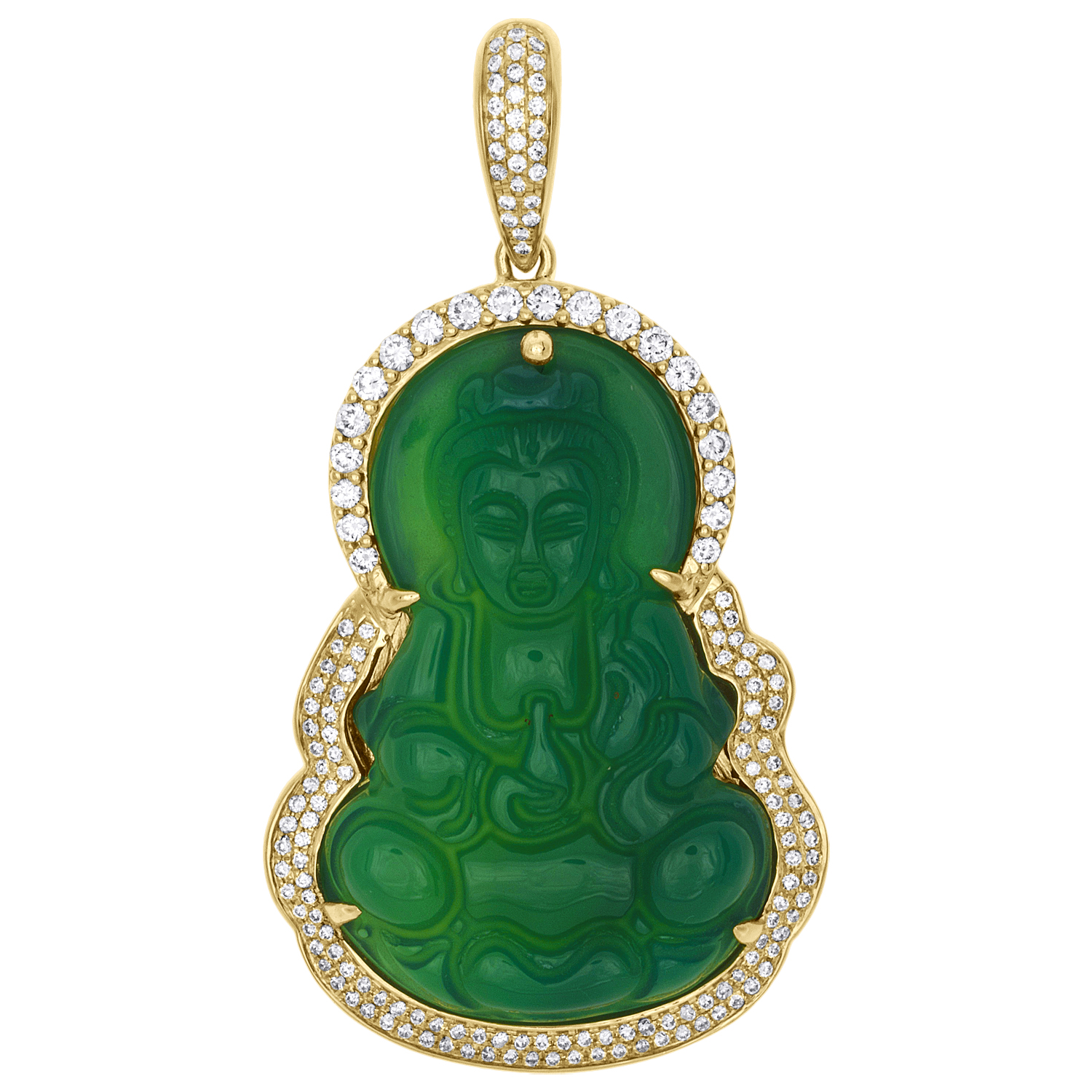 "Real 10K solide or jaune 1.25/"" Laughing Buddha Lucky Pendentif Charme."