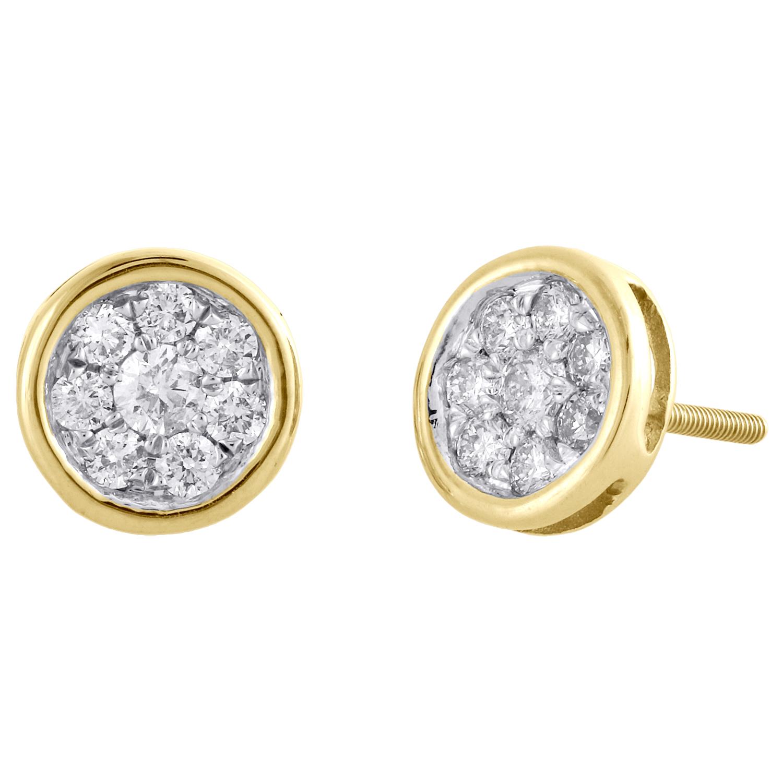 Fiori Gialli Rotondi.14k Oro Giallo Diamante Rotondo Grappolo Perni Tondi Mini Fiore