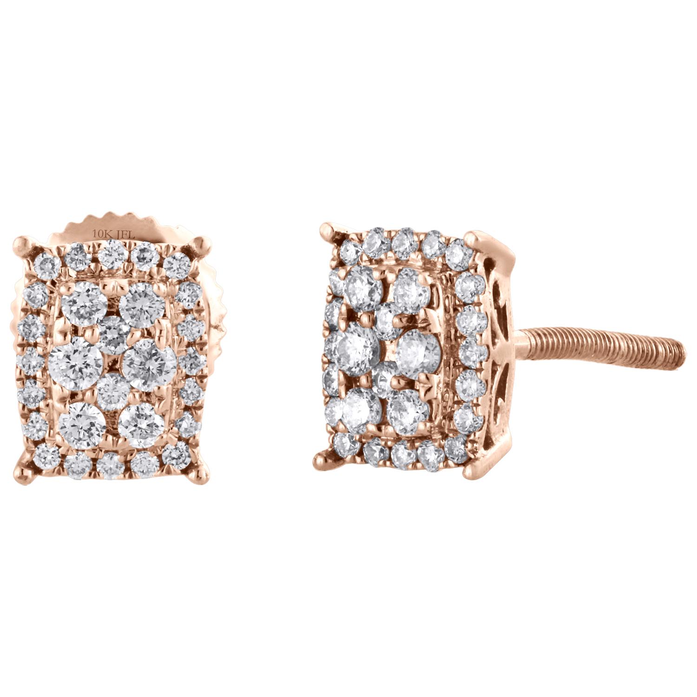 Créé Diamants Halo Drop Dangle Boucles d/'oreilles Véritable 14k Or Blanc
