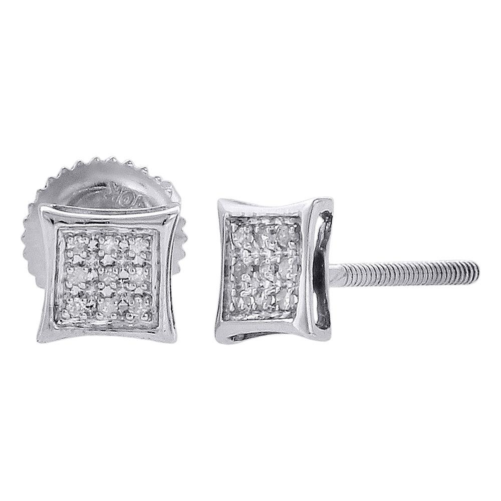 Diamond Unisex Kite Screwback Stud Earrings 1//10ct 10k White Gold