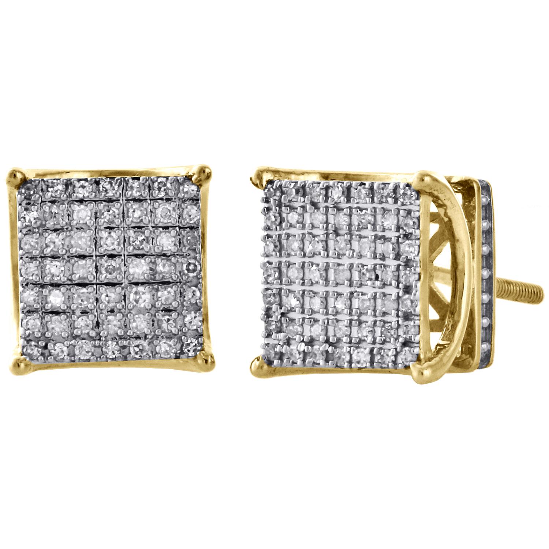0.15 Ct 14K or Jaune Round White Diamond Ladies Fashion Pendantes Boucles D/'oreilles