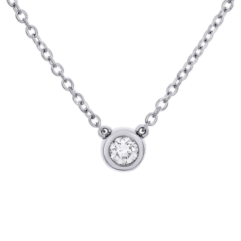 1//5ct Ronde Diamant Solitaire Pendentif 14K Or Blanc