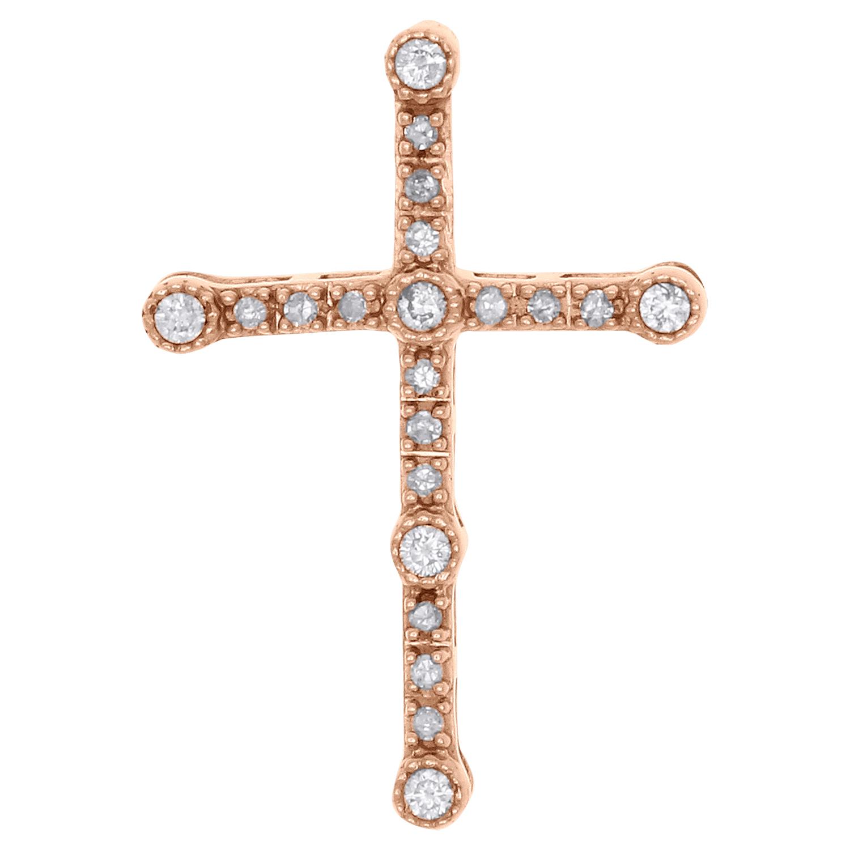 10kt or Blanc Pour Femme Ronde Diamant Pendentif Croix 1//10 cttw