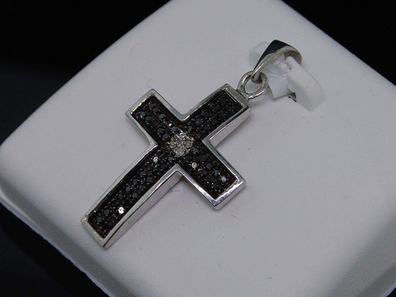 925 Argent 1//8ct Noir /& Blanc Diamant Cœur Collier