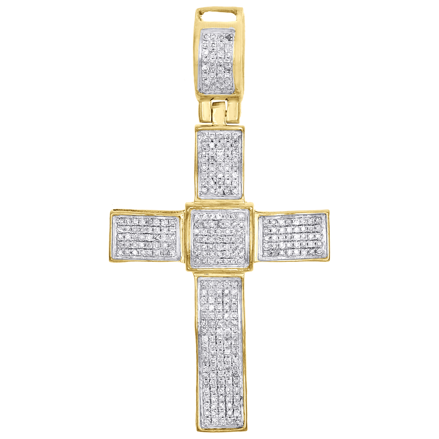 "10k Yellow Gold Real Diamond A Initial Atlanta Pendant 0.95/"" Pave Charm 1//4 CT."