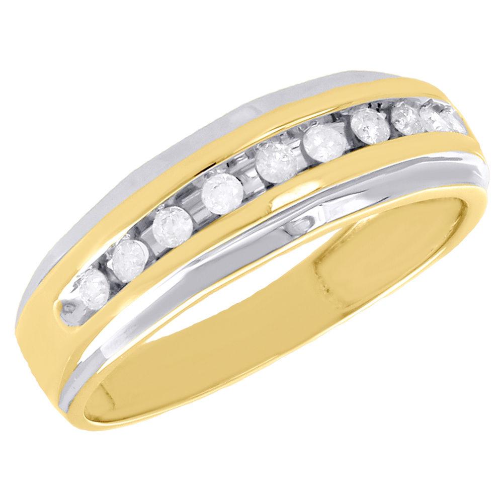0.30 CT Floral Rond Diamant 10k or Jaune sur bague de fiançailles