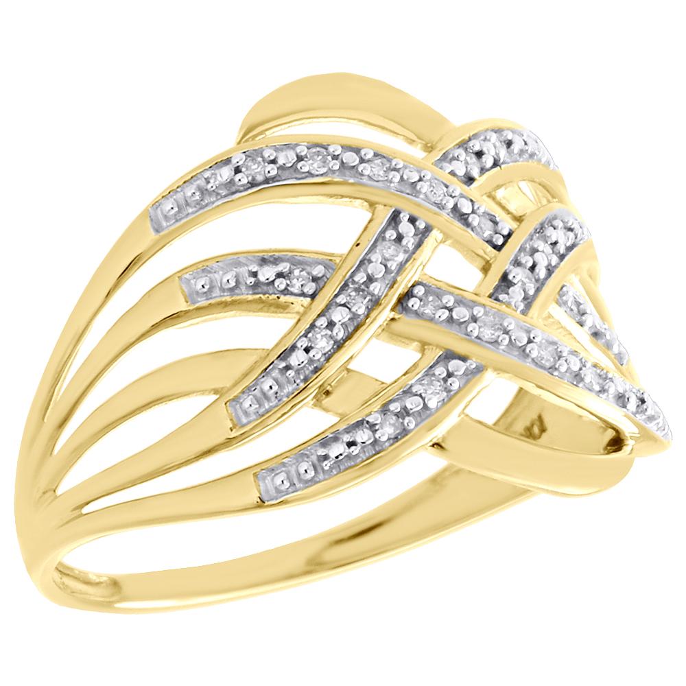 10K Yellow Gold Round Diamond Sideways Cross Right Hand Fashion Ring 1//12 Ct.