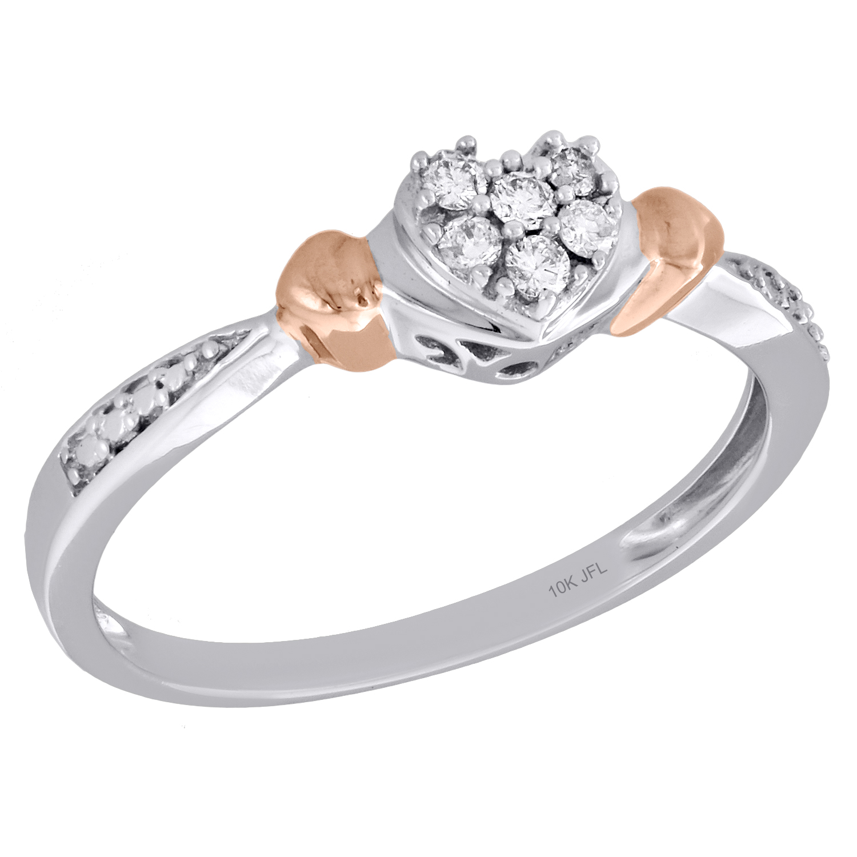 10k White Gold Diamond Heart Love Promise Ring Fashion Band 1//10 ct
