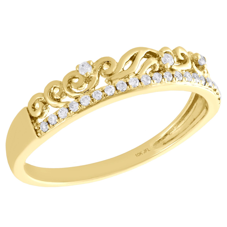 Diamond Love Band Ring 1//12ct 10k White Gold