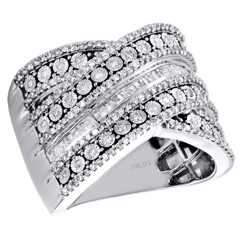 10k White Gold Baguette Diamond Criss Cross Anniversary Band