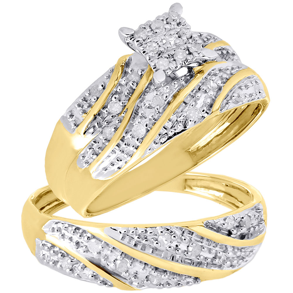 It is just a photo of 30K Yellow Gold Diamond Trio Set Matching Engagement Ring Wedding