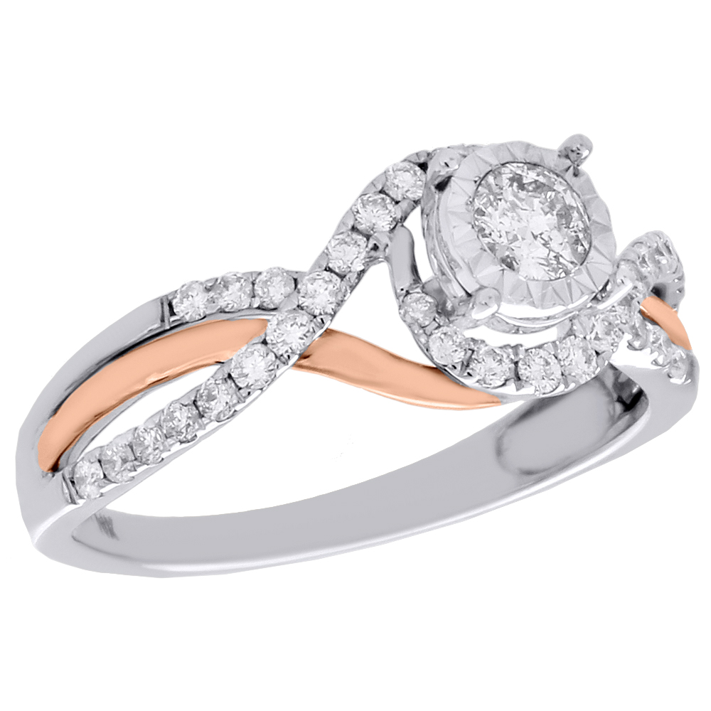 14k Two Tone Gold Solitaire Diamond Intertwined Bypass
