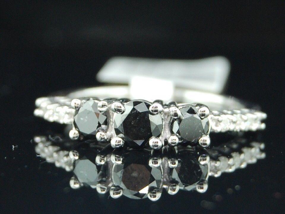 14K Or Blanc Sur Coussin Diamant Fiançailles Mariage Bague Trio Set 3 ct