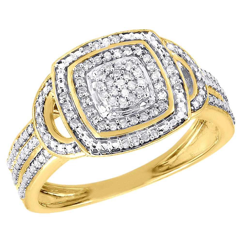 14K Or Jaune Diamant Coupe Croisée X Design Fashion Ring