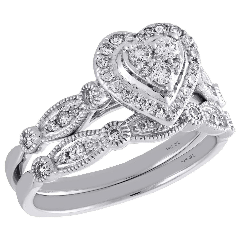 14k White Gold Diamond Bridal Set Heart Engagement Ring Wedding