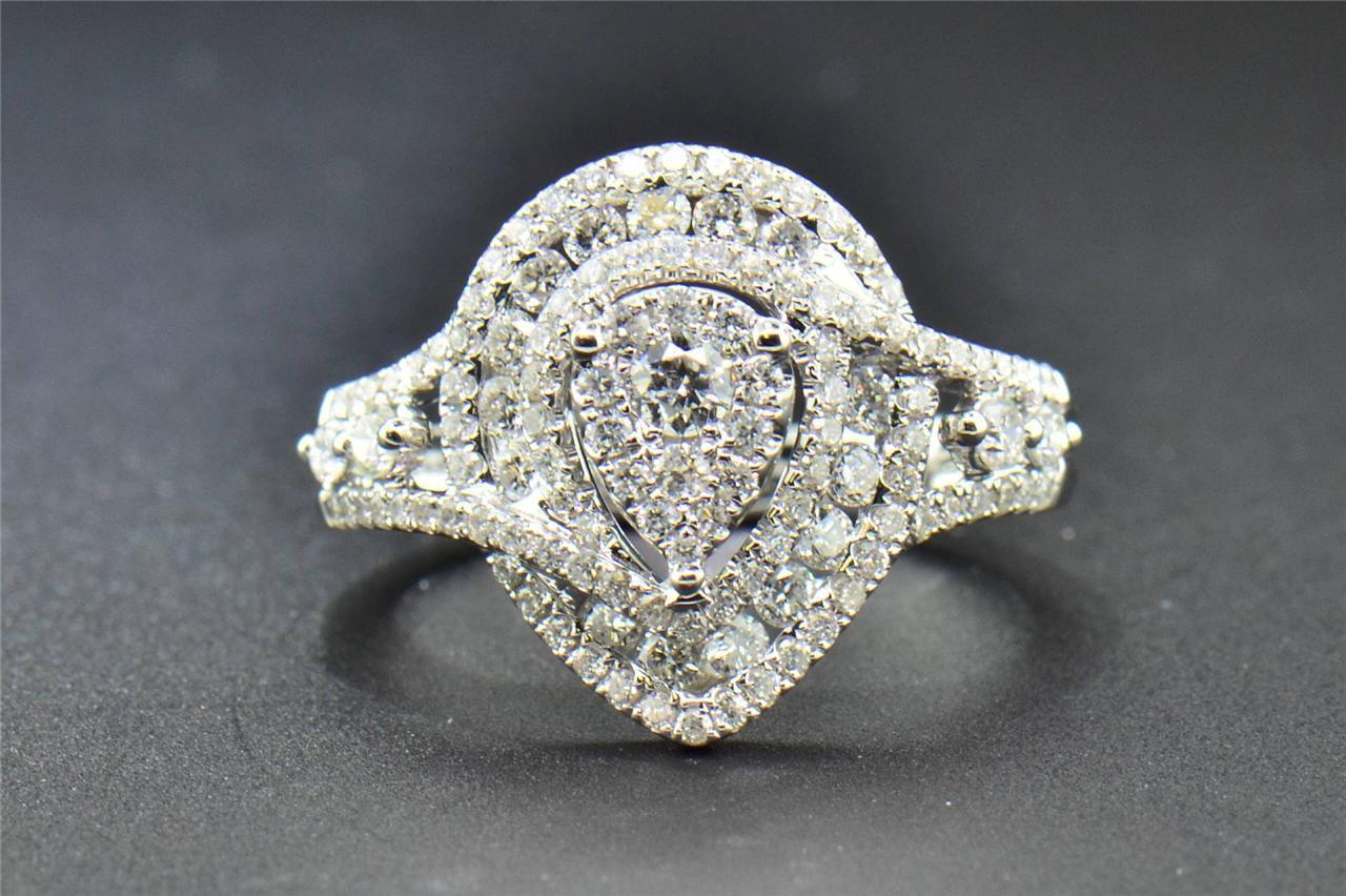 Diamond Engagement Ring Round Cut .925 Sterling Silver Pave Square Halo 0.25 Ct