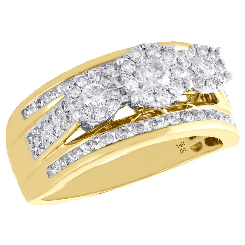 14k solide or jaune femme Mesdames Sertis Double Heart Ring