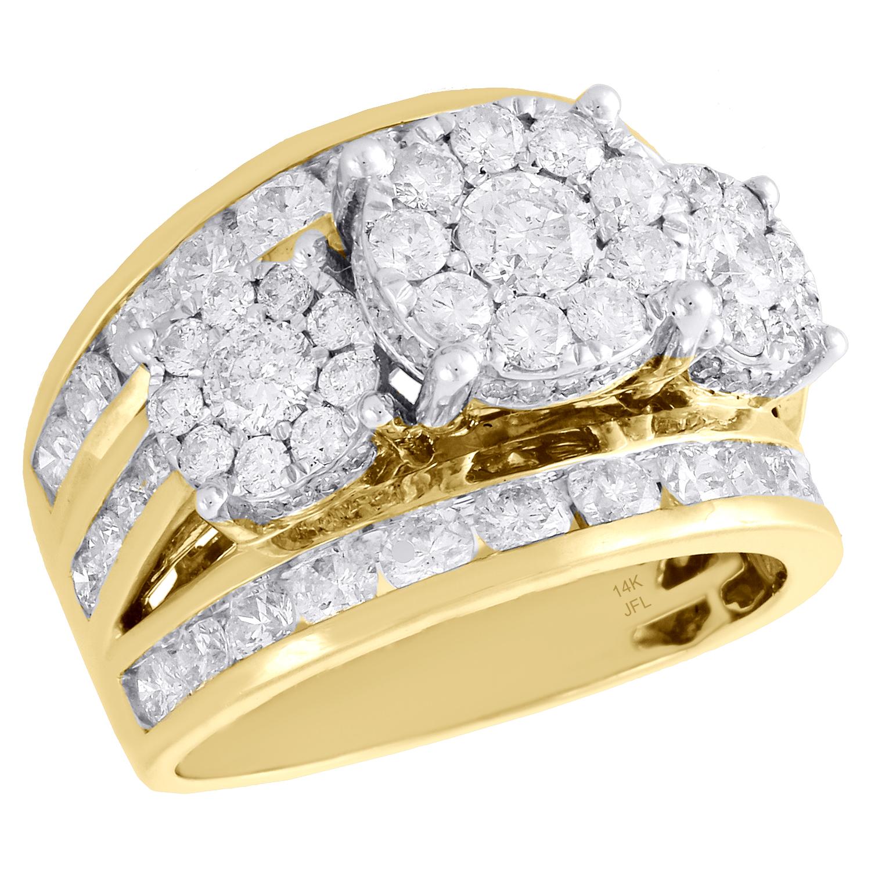 3 Ct Créé diamond Round cut Eternity Mariage Bande Bague 14K Solide Or Jaune