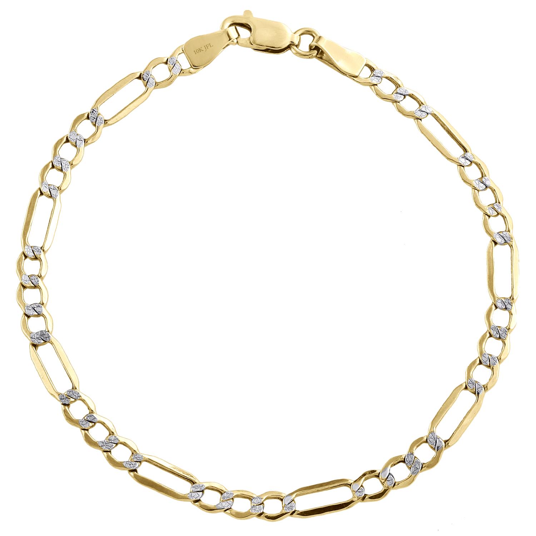 jaune et blanc 10k Solid Gold Rolo chaîne cheville Bracelet 10 in environ 25.40 cm