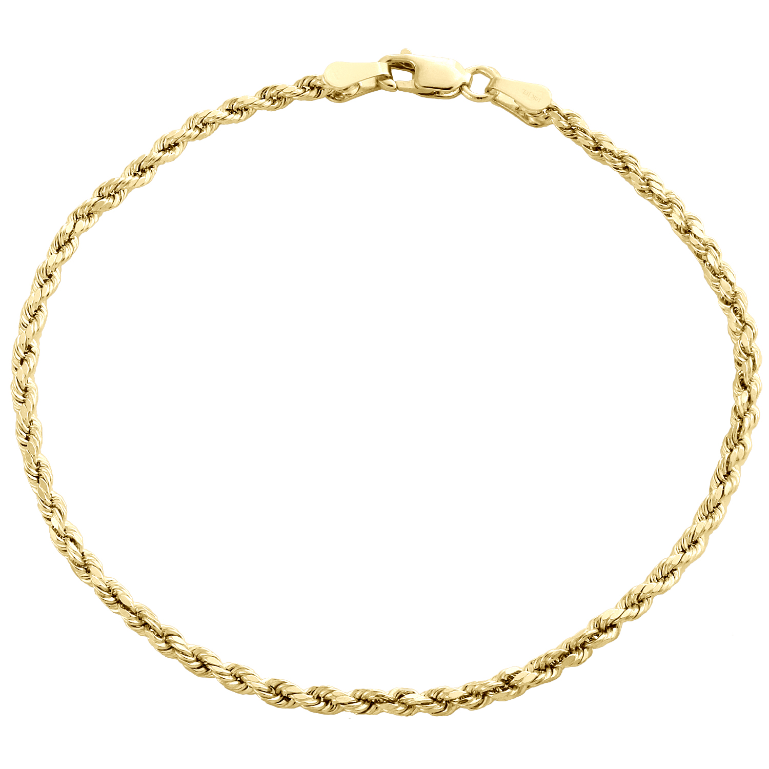 10k Yellow Gold Diamond Cut Hollow Rope Chain Bracelet and Anklet 2mm