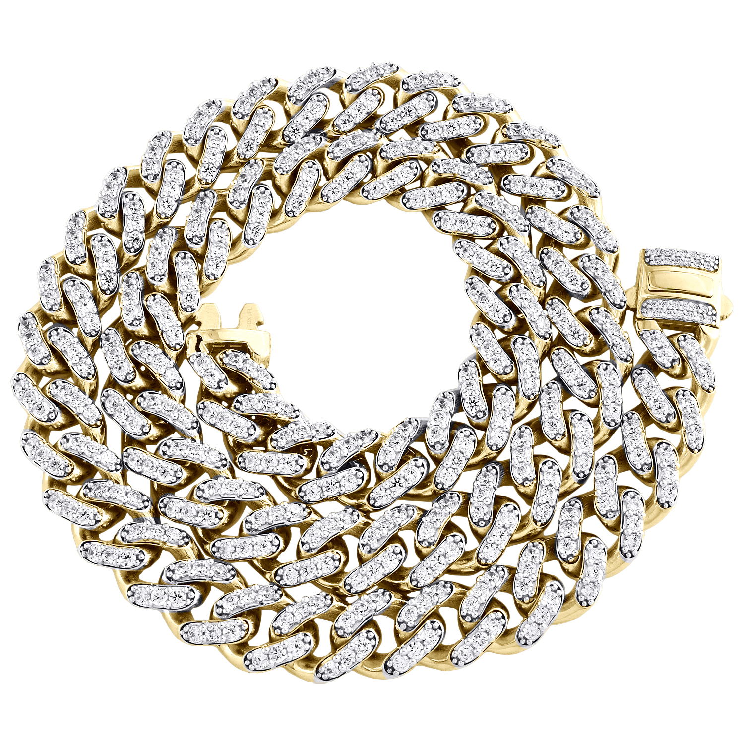"""White Gold Finish .925 Sterling Silver 11MM Hollow Miami Cuban Chain 24/"""" 30/"""""""
