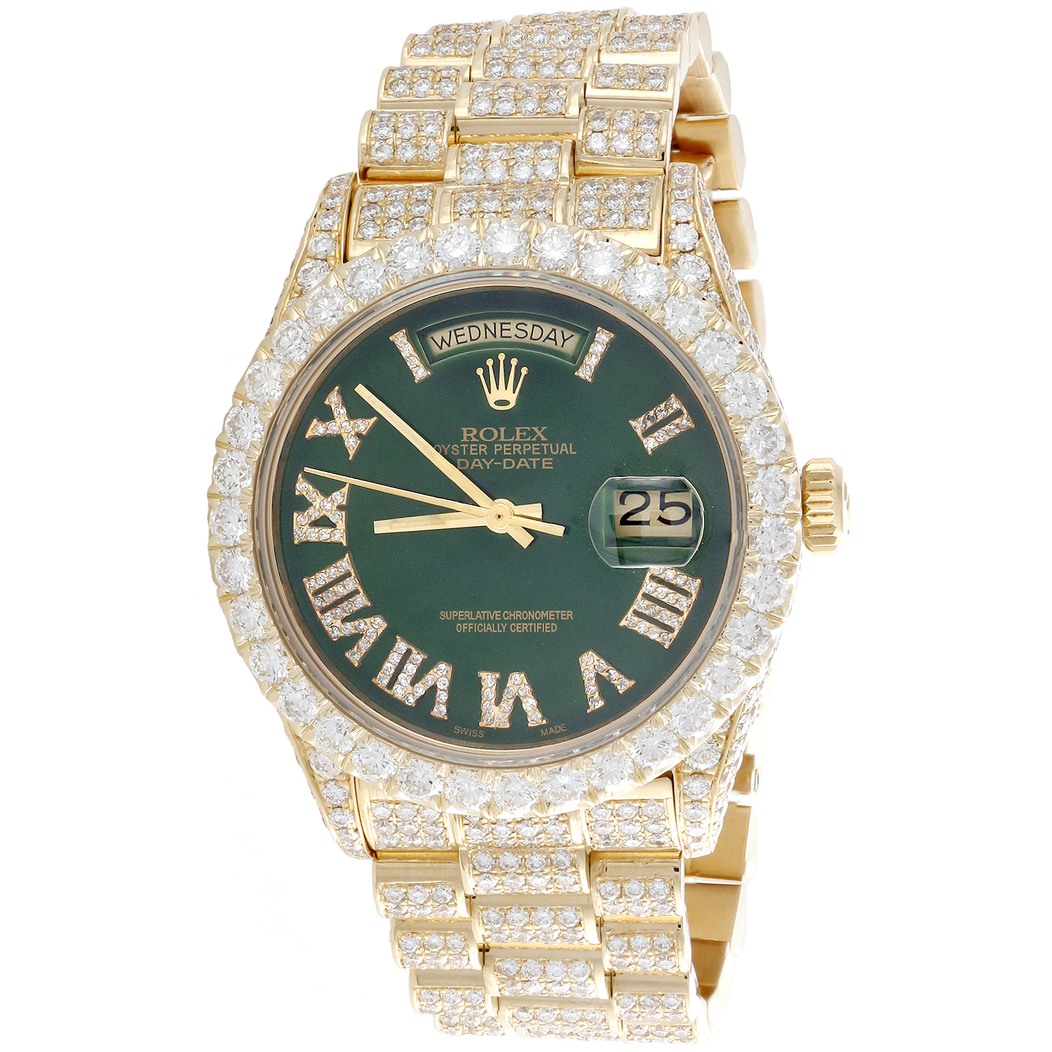 Details About 18k Gold 36mm Rolex President Day Date 18038 Diamond Watch Green Dial 15 11 Ct