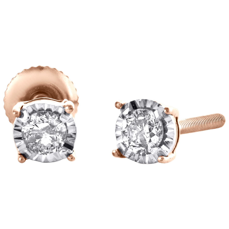 0.15 Carat Natural Diamond Miracle In Sterling Silver Stud Earrings