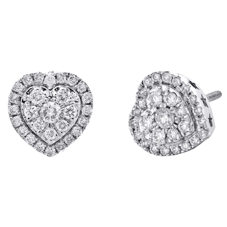 10K Yellow Gold Ladies Diamond Pendant Double Raised Heart 0.25 CT.