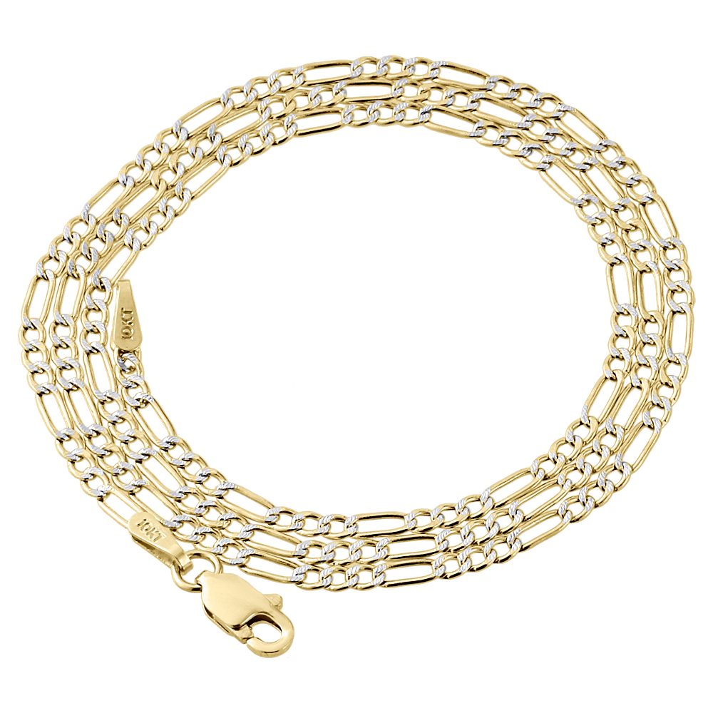 Available in 16 to 24 inches 10K Yellow Gold 2mm Solid Figaro Chain Necklace