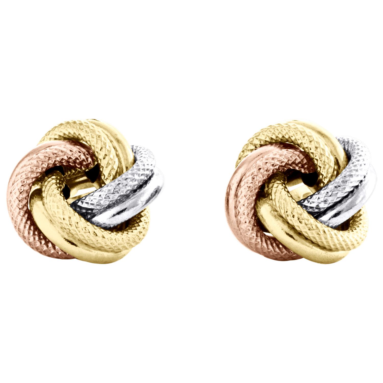 14K Tri-Couleur Or Fantaisie Love Knot Boucles d/'oreilles poli Texturé 11 mm italien Rivets