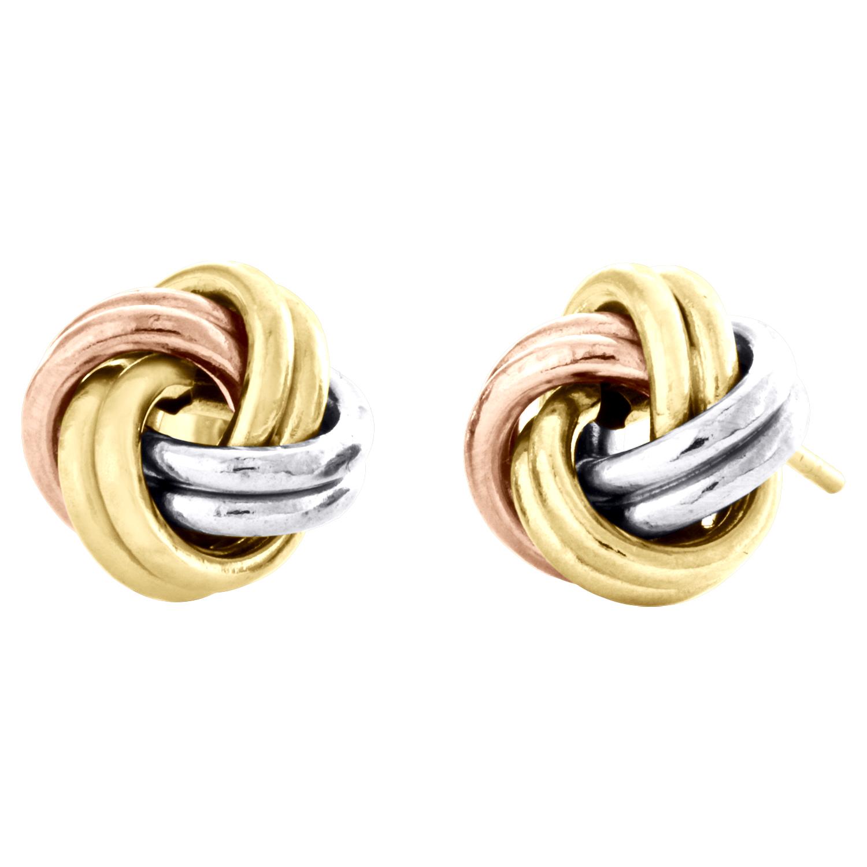 Tri-metal Byzantine Love Knot Earrings