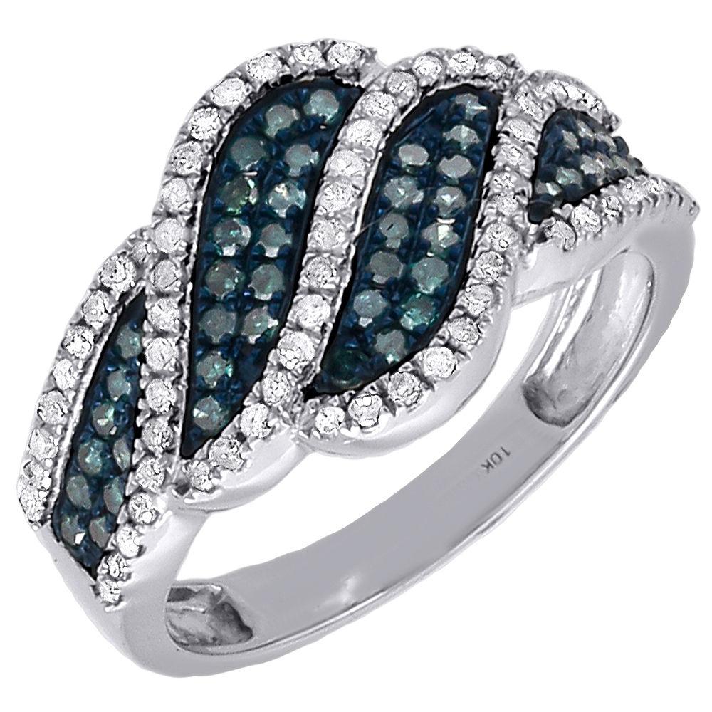 10K White Gold Blue Diamond Cocktail Ring