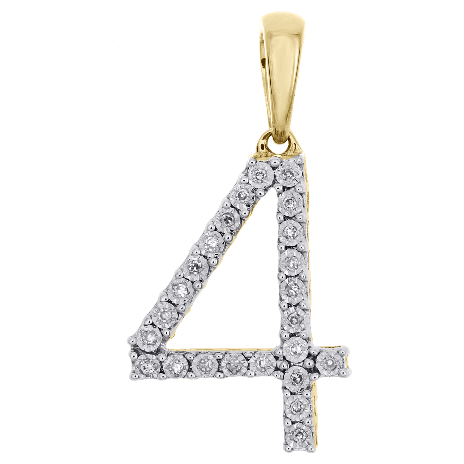 Solid 10k Yellow Gold Number 8 Block Charm Pendant