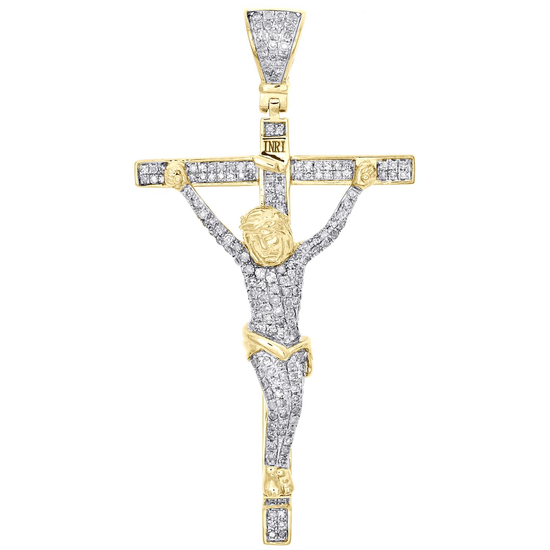 Solid 10k Yellow Gold Two Toned Fleur de Lis Cross Pendant Crucifix Charm 30mm x 16mm
