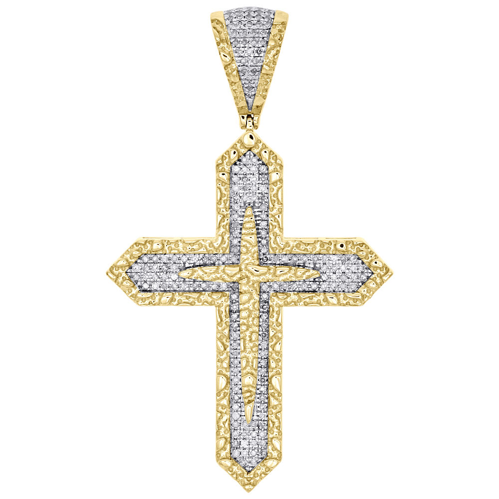 10K Solid Yellow Gold Religious Cross Pendant Charm 1 MM Singapore Chain
