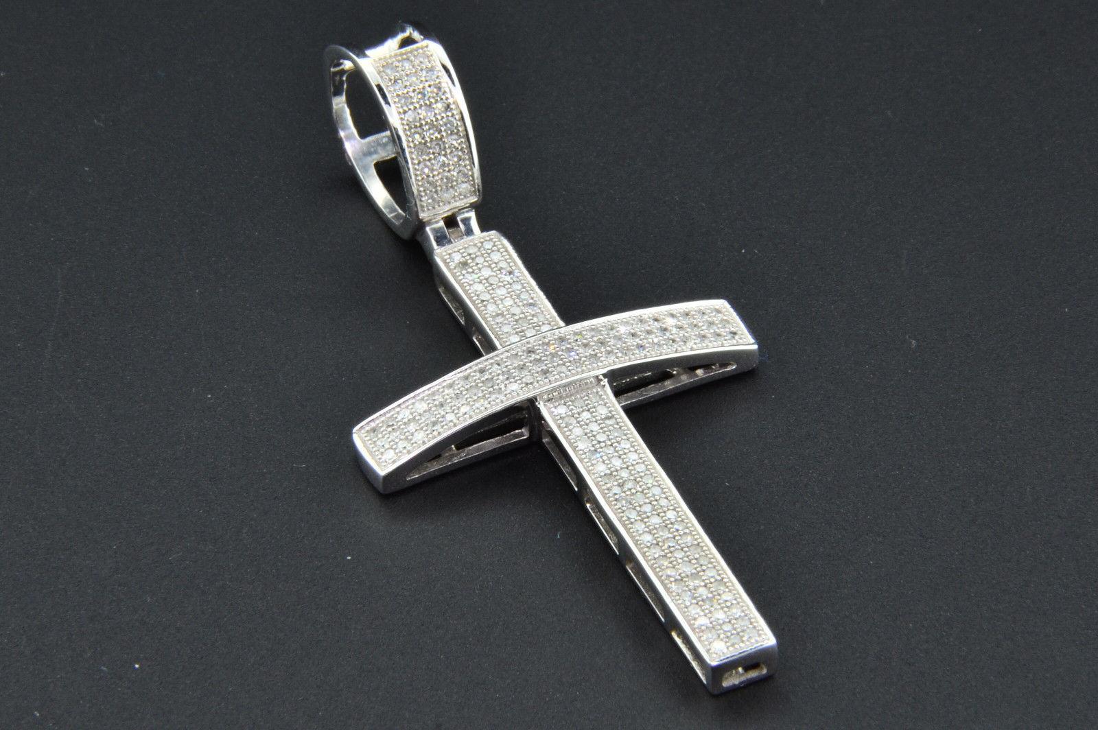 14k or rose mini Élégant Diamant Pendentif Croix Collier