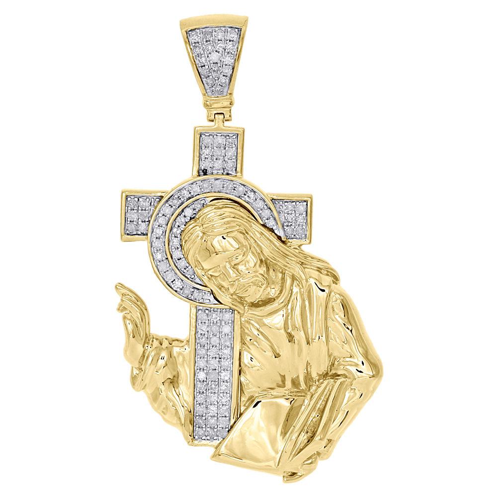 14K Jaune Or Blanc Crucifix Pendentif Croix-Jésus Collier Charme Femmes Hommes