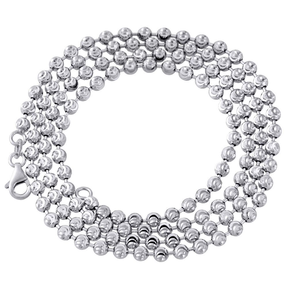 YELLOW,WHITE,BLACK,ROSE GOLD FINISH MOON CUT BEAD BALL CHAIN NECKLACE 3MM//24INCH
