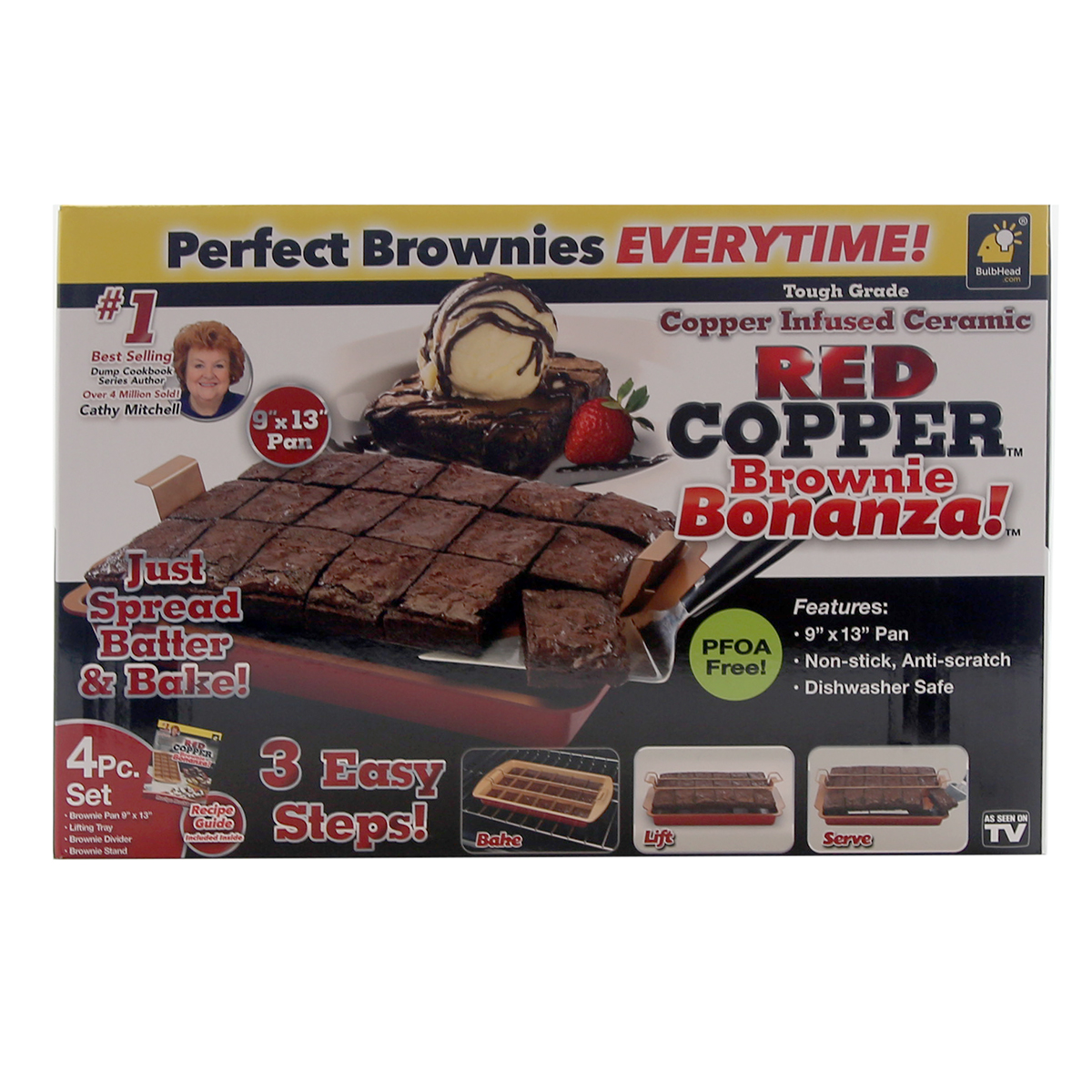 Details about As Seen On TV Red Copper Brownie Bonanza Copper Infused Non  Stick Pan